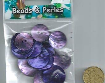 set of 15 buttons of mother-of-pearl purple & mauve round shape
