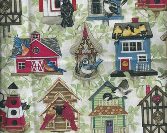 Fabric birds: Birds and houses (coupon 55 x 50 cm) 100% Cotton Patch