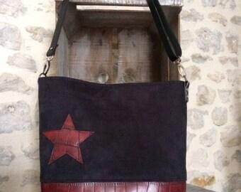 Burgundy leather and suede shoulder bag