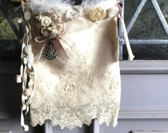 Small antique lace treasure bag