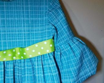 Toddler dress-SIZE 4T-Mod-lantern sleeves-turquoise-apple green polka dot-100% cotton-ready to ship