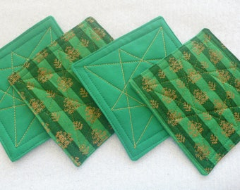 Quilted Coasters for Christmas, Hostess Gift, Housewarming Gift, Friend, Coworker - Green and Gold (set of 4)