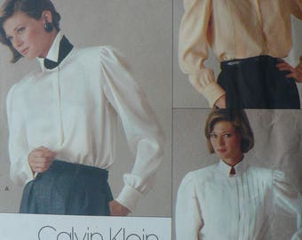 Women's Blouse Pattern by Calvin Klein, Vogue 1211, Size 10 - circa 1980