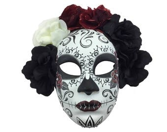 Day of the Dead Floral Full Face Mask Dia de los Muertos Gothic Masks for him