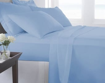1000TC-100% Egyptian cotton Bed sheet set/Sky blue/flat fitted 2 pillow covers