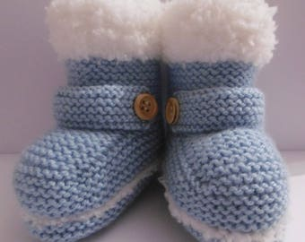 with straps baby boy booties by hand (newborn)