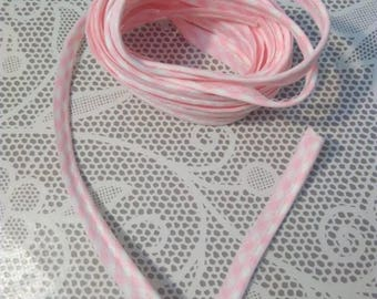 Cotton piping, baby pink gingham, 1 m