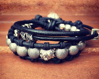 Double Wrap Leather Bracelet With 925 Silver Beads
