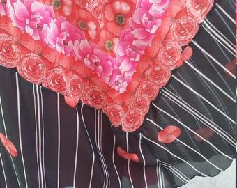 John Charles black red poppy maxi dress size 10-12