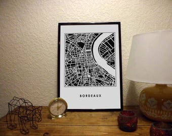 Black & white Bordeaux on satin matte paper map poster