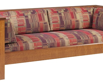 Solid Mission Arts & Crafts Stickley Style Prairie Spindle Settle Sofa Couch - Handmade in USA!