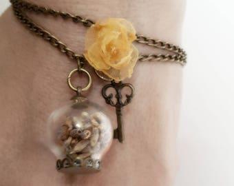 Lavender bubble-wrap bracelet with glass bubble
