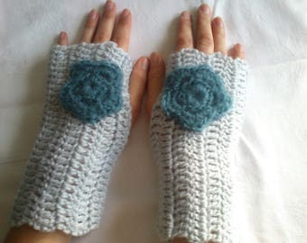 gloves, fingerless gloves crocheted with acrylic wool grey, mothers day gift
