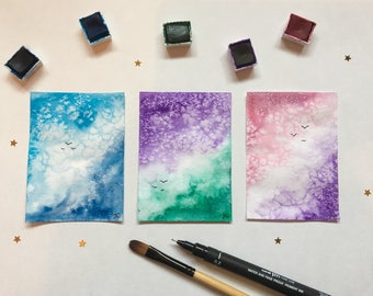 Original ACEO watercolour bird landscapes. Collectable, bright, nature. Sketch, painting, gift design. Mini tiny painting