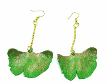 Leather Earrings - Golden Ginkgo Leaf