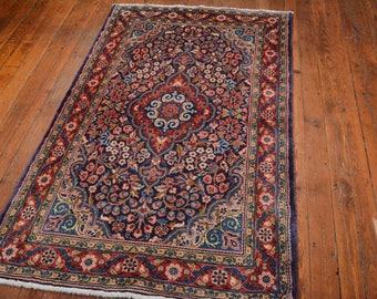 Vintage Persian Sarouk Rug, 3'6''x5'10'', Blue/Red, All wool pile