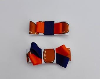 Football Hair Bows - Orange and Blue