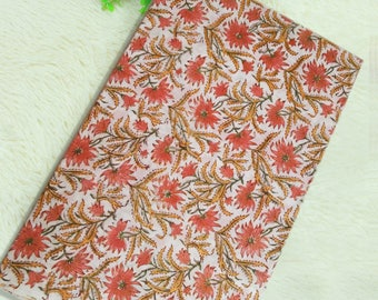 White Base Yellow Pink Hand Block Floral Printed Cotton Fabric for Dress
