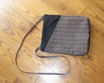 Brown Striped Purse with Exterior Pocket