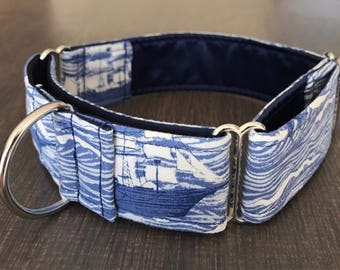 Sailing Ships 1.5 inch Martingale Dog Collar - Ready to Ship!