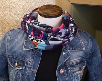 FX109 snood scarf tissue fluid jersey fabric and multicolored stripes baroque retro patterns