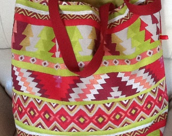 Red and green cotton tote bag acid geometric design