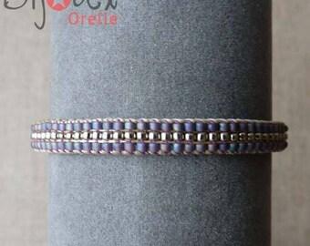 Lavender and Gold Leather Bracelet