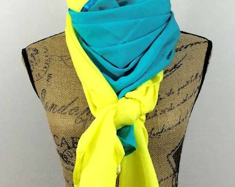 Large square scarf in turquoise and yellow 140x140cm Amaya