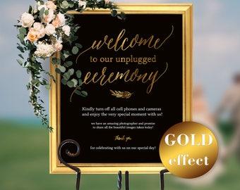 Unplugged Wedding, Gold Unplugged Wedding Sign, Unplugged Ceremony Sign, Black and Gold Unplugged Sign, Wedding Unplugged, #HQT011_6b