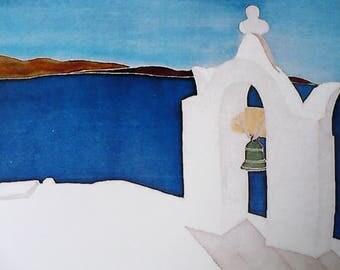 Photo - watercolor on silk - Greek landscape - Santorini island card