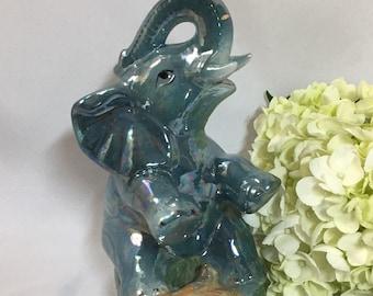 Vintage Iridescent Elephant Figurine