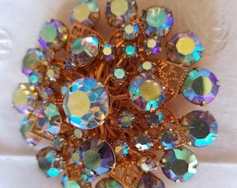 Vintage Crystal  Rhinestone Starburst Brooch