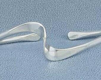 Hand wrought Sterling Silver wave bracelet
