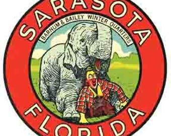 Vintage Style  Sarasota Florida Travel Decal sticker