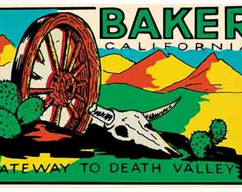 Vintage Style   Baker California  CA  1950's  Death Valley   Travel Decal sticker