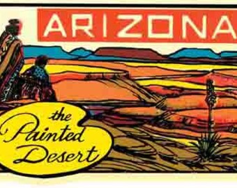 Vintage Style  Painted Desert       Grand Canyon National Park Arizona  Travel Decal sticker