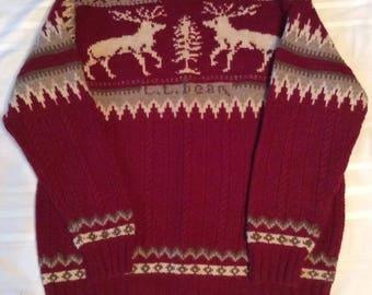 Vintage LL Bean Sweater XL Reg Lambs Wool Ski Nordic Fair Isle Christmas Deer
