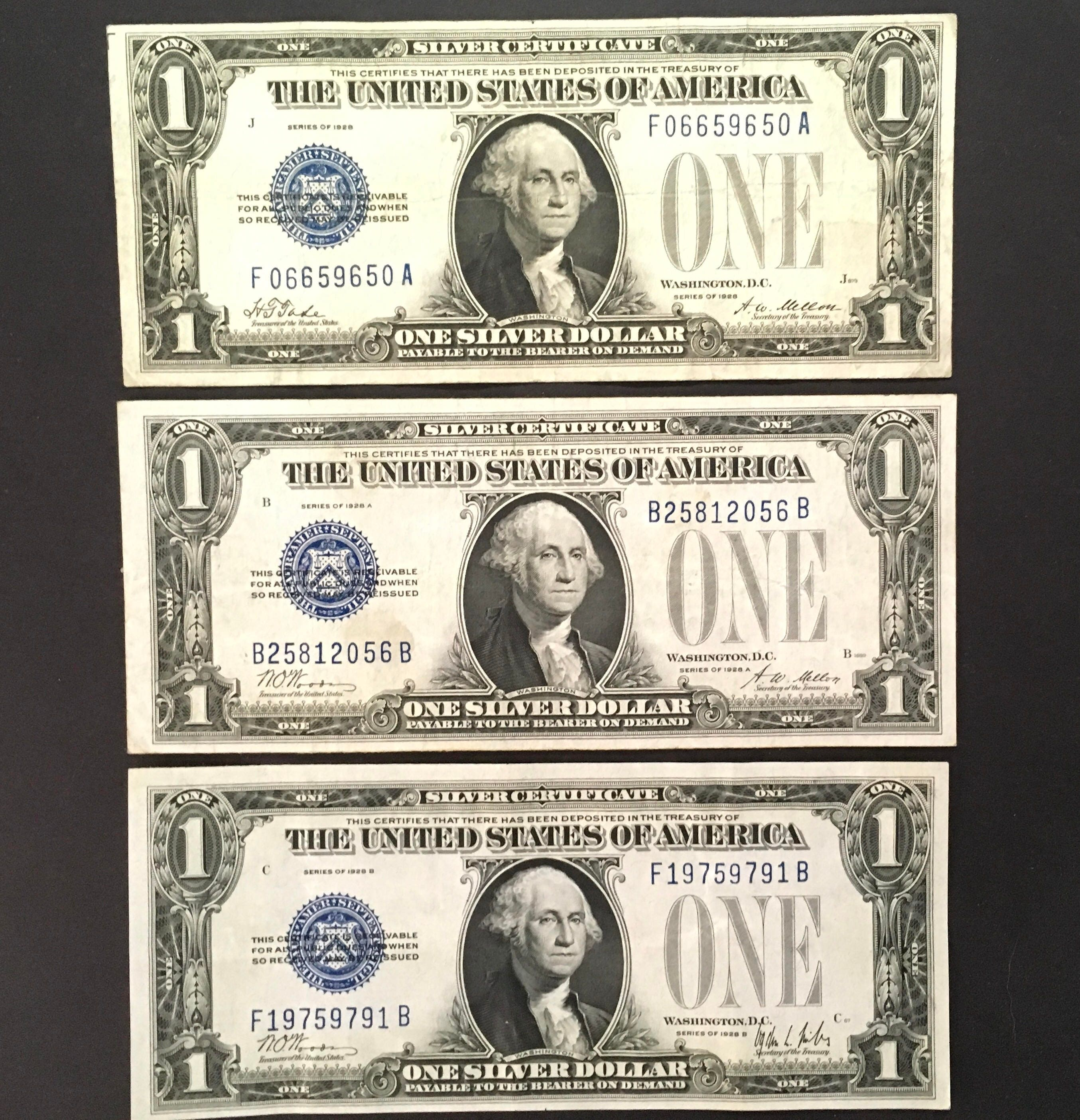 1928 Funnyback Silver Certificate Set Of 3 28
