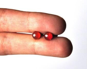 Red glass Stud Earrings; Bohemian jewelry for women