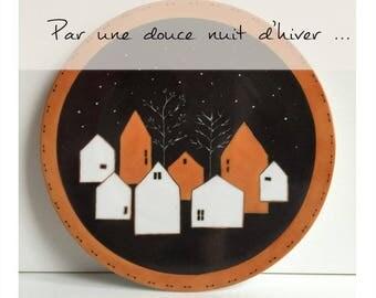 Par une douce nuit d'hiver - Fiche créative peinture sur porcelaine