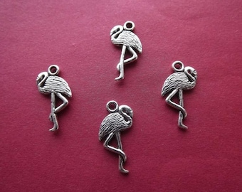 10 pink flamingos charms in antique silver