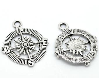 Large silver plated compass pendent (x 2)