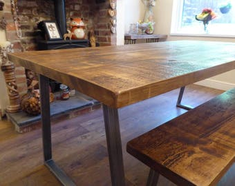 Industrial style dining table and benches