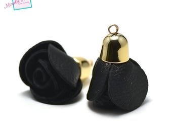 """gorgeous 2 """"pink"""" faux leather tassels 50 x 30 mm, black, gold Bell"""