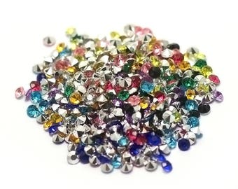 """5g of Crystal beads glass paste """"cone"""" 4 mm, assorted color"""