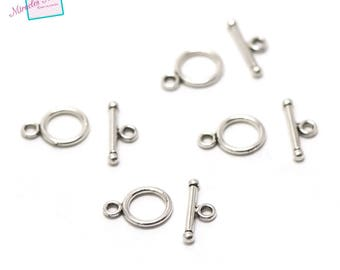 "set 10 clasps toogles ""simple 001"" 13 x 10 mm"
