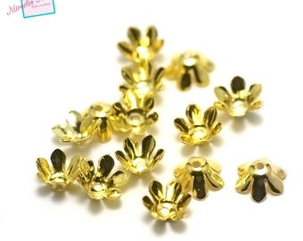 """100 cone/Cup/Cap adjustable """"flower"""" 13 x 5 mm, gold"""