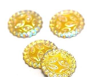 4 cabochon embellishment craft 24 mm round yellow flower pattern