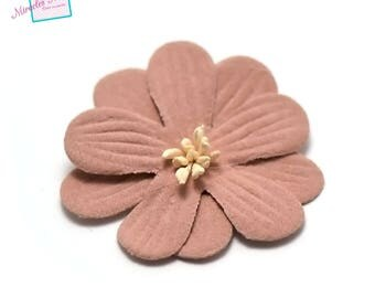 4 flowers in faux leather 45 X 10 mm, old pink