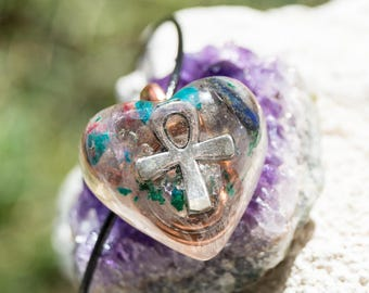 Ankh Orgone Pendant Necklace - Solfeggio Frequencies / 528hz - Multi Crystal -Metaphysical Artisan crystal Jewelry